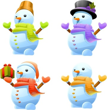 snowman icons modern colorful 3d design