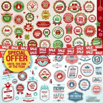 christmas special offer labels vector