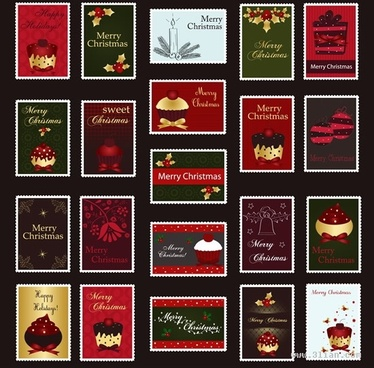 christmas stamps collection dark colored classical decor