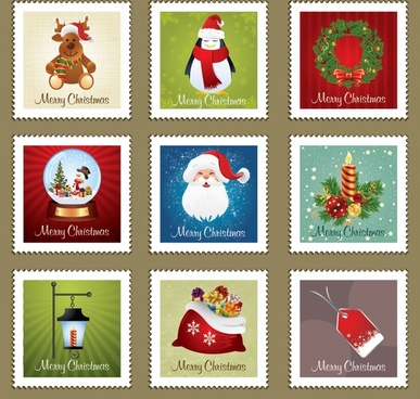 christmas stamps vector elements