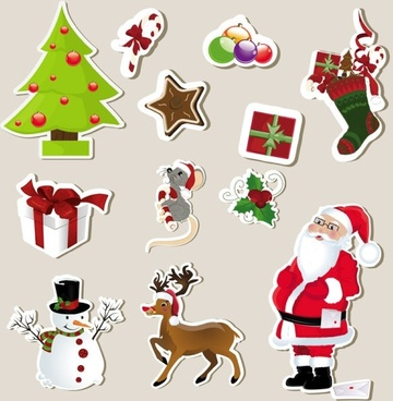 christmas stickers element 01 vector