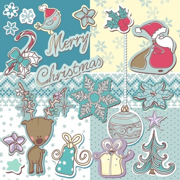 christmas stickers with snowflakes vector