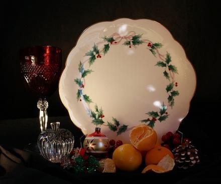 christmas still life holiday cake plate tangerines