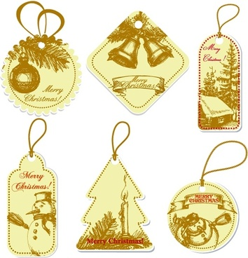 xmas tags templates classical decor paper cut shapes