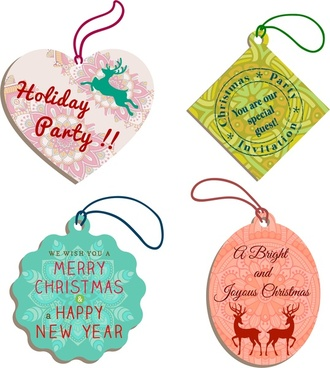christmas tags collection various shapes in vignette pattern