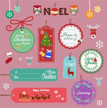 christmas tags isolation with with various colored icons