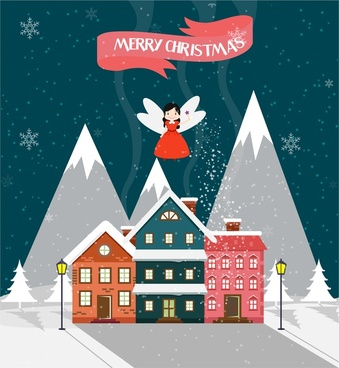 christmas template design cute fairy and house design