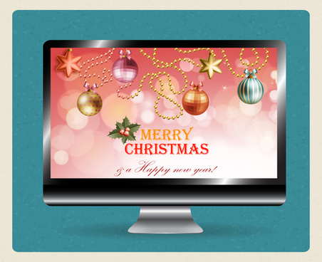 christmas template design on computer screen