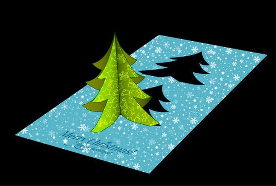christmas template design with 3d fir tree card