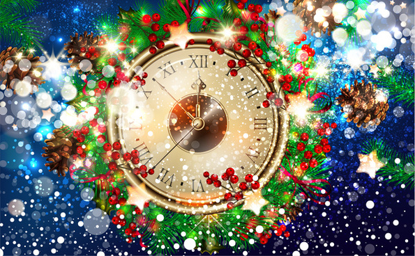 christmas template design with clock and bokeh background