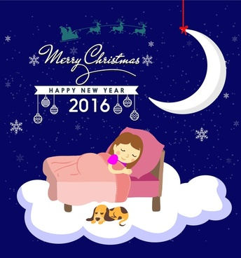 christmas template design with sleeping girl on cloud