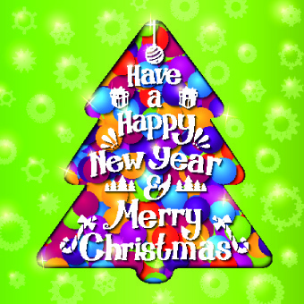 christmas tree and green background vector