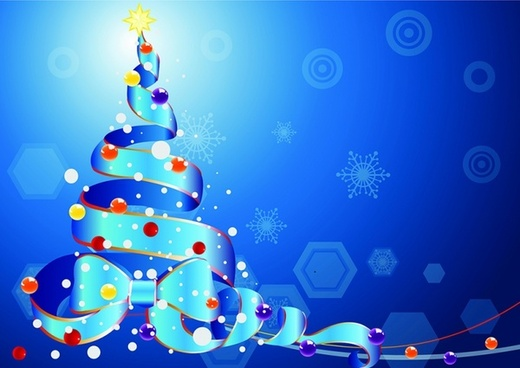 Christmas tree by a Ribbon on blue background