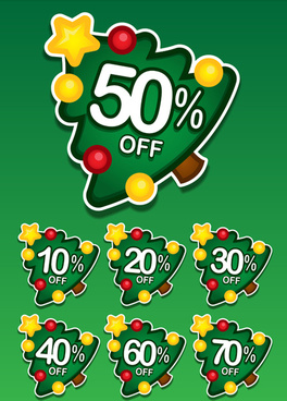christmas tree discount labels vector