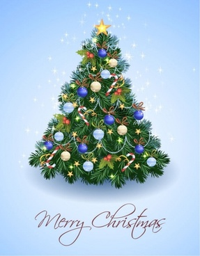 christmas banner sparkling fir tree decoration realistic style