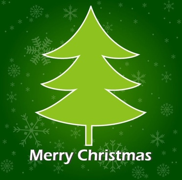 christmas tree green background vector graphic
