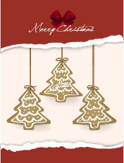 christmas tree hanging and torn paper vector background