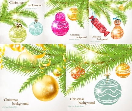 xmas background templates shiny colorful baubles decor