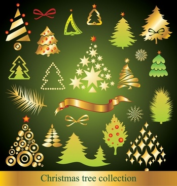 christmas trees collection modern shiny colored flat shapes