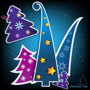 christmas tree tags 02 vector
