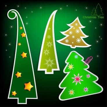 christmas tree tags 03 vector