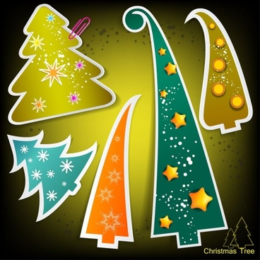 christmas tree tags 04 vector