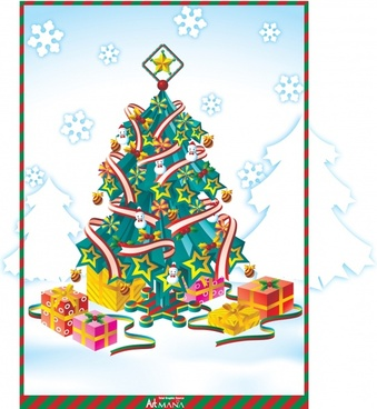 christmas background classical design fir tree box icons
