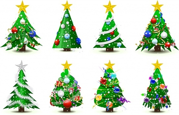 christmas tree icons multicolored baubles decor
