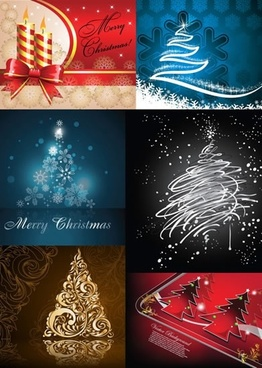 xmas background templates sparkling fir tree candle sketch