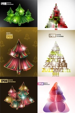xmas background templates fir tree sketch modern sparkling