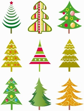 Christmas Tree Vector Illustration Set