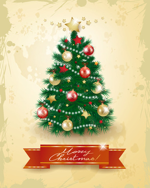 christmas tree with grunge background vector