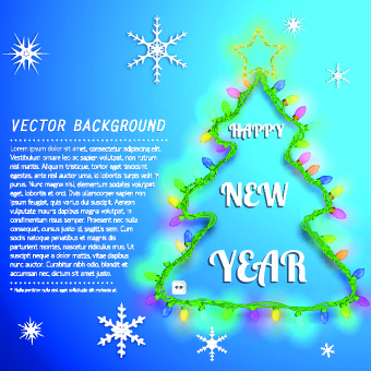 christmas tree with snowflake vector background