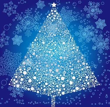 christmas tree with snowflakes background