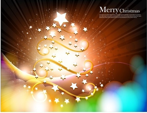 christmas tree with star vector fantasy background