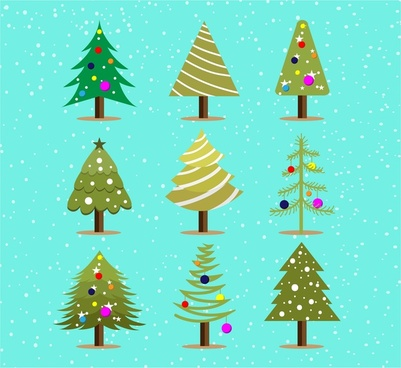 christmas trees collection in colorful style