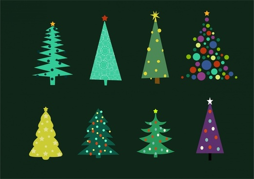 christmas trees collection various shapes on dark background