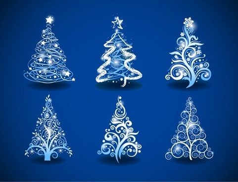 christmas trees on blue background