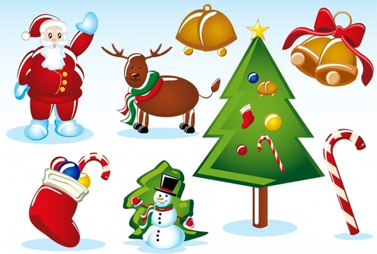 christmas design elements shiny colorful symbols