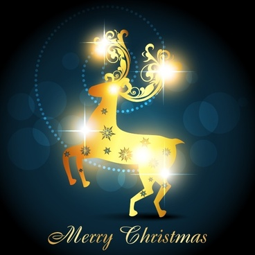 christmas background twinkling golden reindeer icon bokeh decor