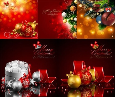 xmas background templates colorful shiny bokeh baubles decor