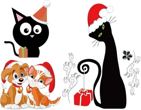 Christmas vector cute cats and dogs