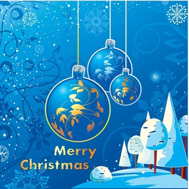 christmas banner classical elegant blue decor