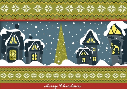 christmas vector illustration cartoon vector snowflakes house