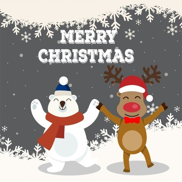 christmas vector illustration with white bear and reindeer
