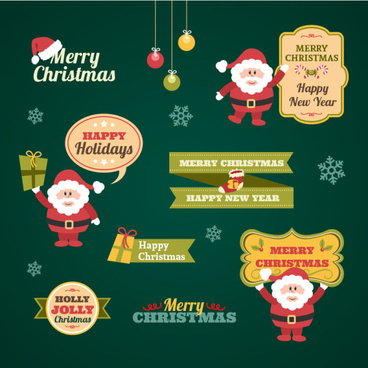 christmas vintage lables with logos vector