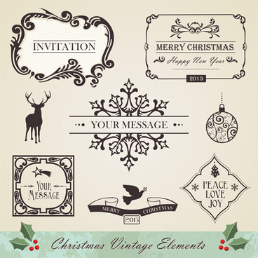 christmas vintage ornaments elements vector set