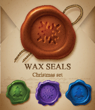 christmas wax seals design elements vector set