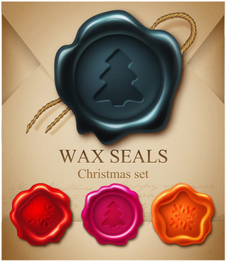 christmas wax seals design vector