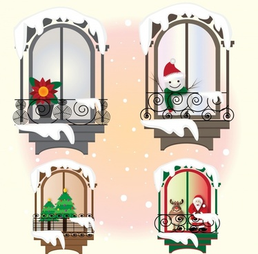 christmas windows set